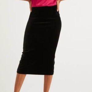 Boden Lorna black velvet pencil skirt